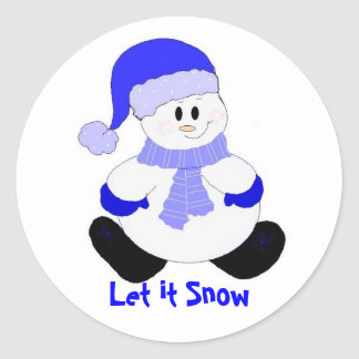 Blue Snowman Round Sticker