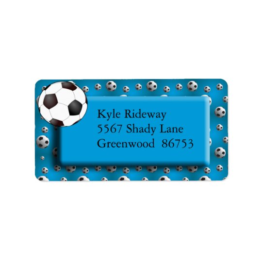 Blue Soccer Ball Address Label