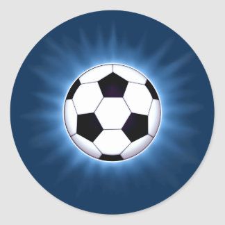 Blue Soccer Ball Corona Round Stickers