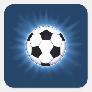 Blue Soccer Ball Corona Square Stickers