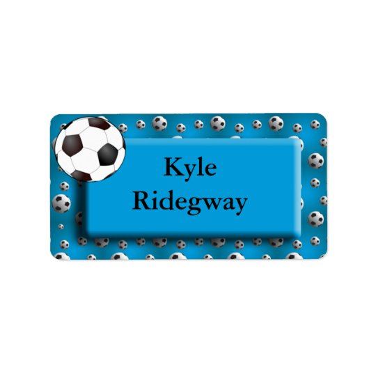 Blue Soccer Ball Name Label