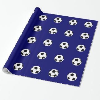 Blue Soccer Ball Pattern Wrapping Paper