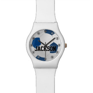 Blue Soccer Ball with Player Name or Text Kids Watch
