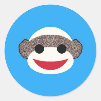 Blue Sock Monkey Classic Round Sticker