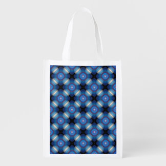Blue Spacey Geometric Reusable Grocery Bag
