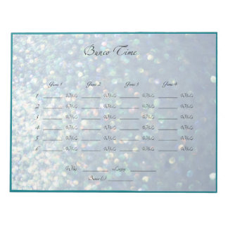 Blue Sparkle Bunco Night Sheets Notepads