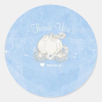 Blue Sparkle Carriage Cinderella Party Favor Classic Round Sticker