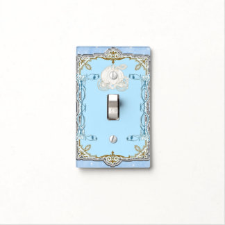 Blue Sparkle Carriage Cinderella Princess Royal Light Switch Cover