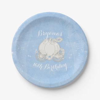 Blue Sparkle Carriage Elegant Cinderella Party Paper Plate