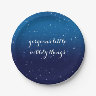 Blue Sparkle Gorgeous Little Nibbly Things Plate 7 Inch Paper Plate