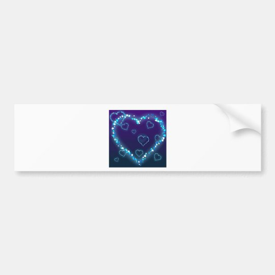 Blue Sparkle Heart Bumper Sticker