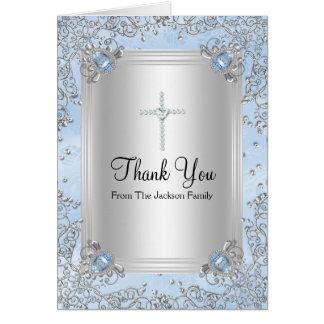 Blue Sparkle Jewel Baptism Thank You Card