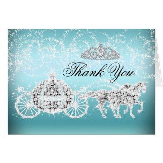 Blue Sparkle Princess Theme Thank You Card
