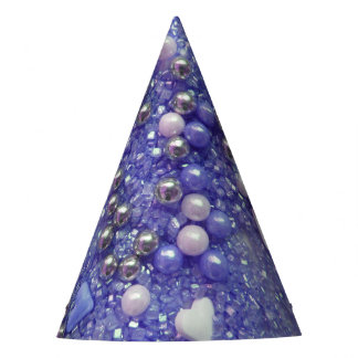 Blue Sparkles and Love Hearts Party Hat
