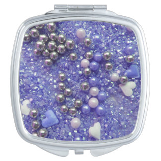 Blue Sparkles and Love Hearts Vanity Mirror