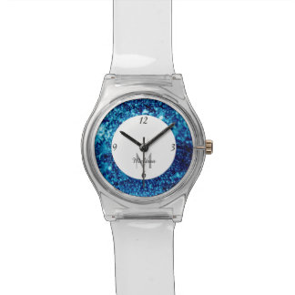 Blue sparkles Frozen ice bubbles Monogram Watch