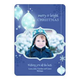 Blue Sparkling Elegance Holiday Photo Card