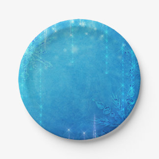 Blue Sparkling Frozen Ice Winter Bridal Shower Paper Plate