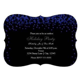 Blue Sparkling Lights on Black Party Invitation