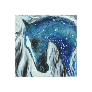 Blue Speckle Horse Art on Wrapped Canvas