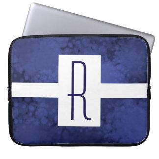 Blue Speckled Monogram Laptop Sleeve