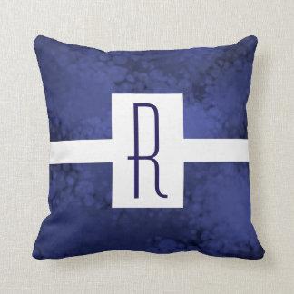 Blue Speckled Monogram Throw Pillow