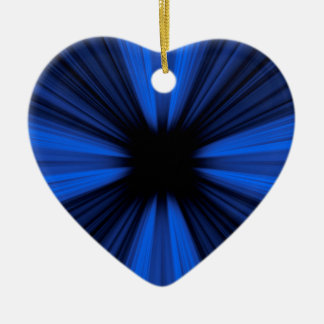 Blue speed lines ceramic heart ornament