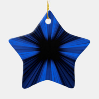 Blue speed lines ceramic star ornament