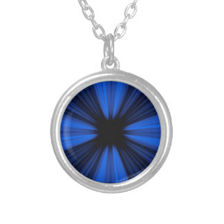 Blue speed lines silver plated necklace