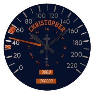 Blue Speedometer on Dashboard Clock