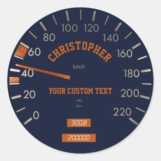 Blue Speedometer on Dashboard Sticker
