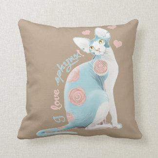 💛💙💛 Blue Sphynx 💛💙💛 Throw Pillow
