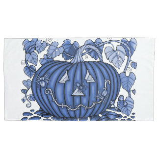 Blue Spidery Pumpkin Pillowcase