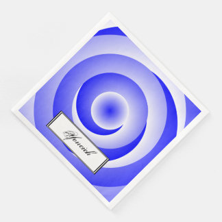 Blue Spiral Illusion by Kenneth Yoncich Paper Napkin