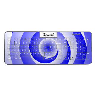Blue Spiral Illusion by Kenneth Yoncich Wireless Keyboard