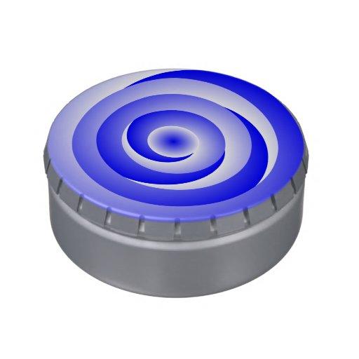Blue Spiral Illusion Candy Tin