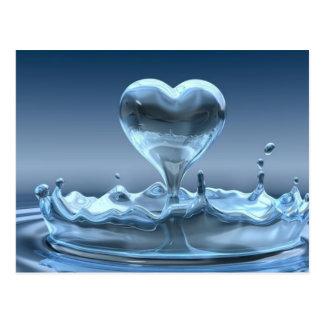 Blue Splash Of Heart Postcard