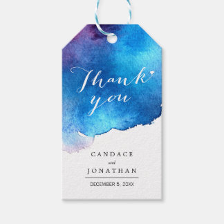 Blue Splash Watercolor Wedding Gift Tags