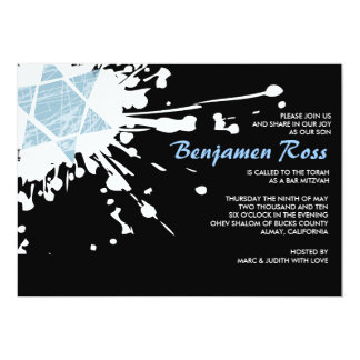 Blue Splatter Star Bar Bat Mitzvah Invitation