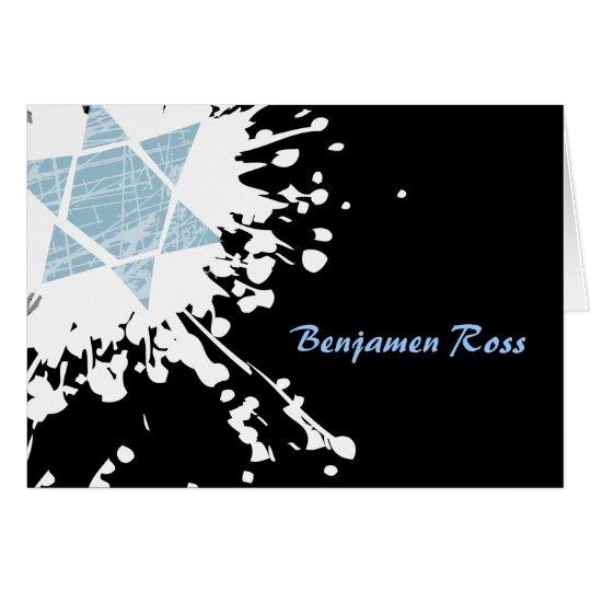 Blue Splatter Star Bar Bat Mitzvah Thank You Card