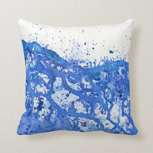 Blue Splatter Throw Pillow