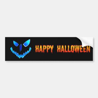 Blue Spooky Jack O Lantern Face Car Bumper Sticker