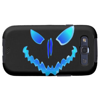 Blue Spooky Jack O Lantern Face Galaxy S3 Covers