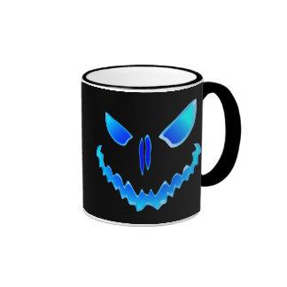 Blue Spooky Jack O Lantern Face Coffee Mug