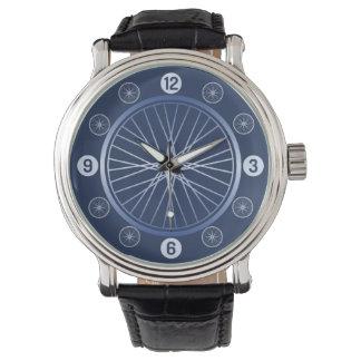 Blue sport bicycle wheel watch