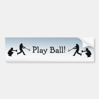 Blue Sports Baseball Play Ball Bumper Sticker