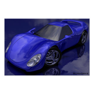 Blue Sports Car Poster
