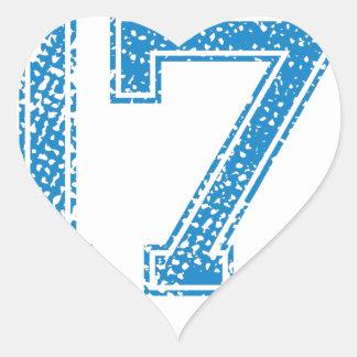Blue Sports Jerzee Number 17 Heart Sticker