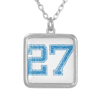 Blue Sports Jerzee Number 27 Silver Plated Necklace