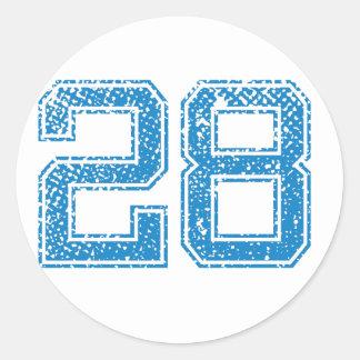 Blue Sports Jerzee Number 28 Classic Round Sticker